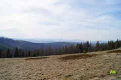 Panorama z Hali Kamińskiego, w oddali Beskid Mały